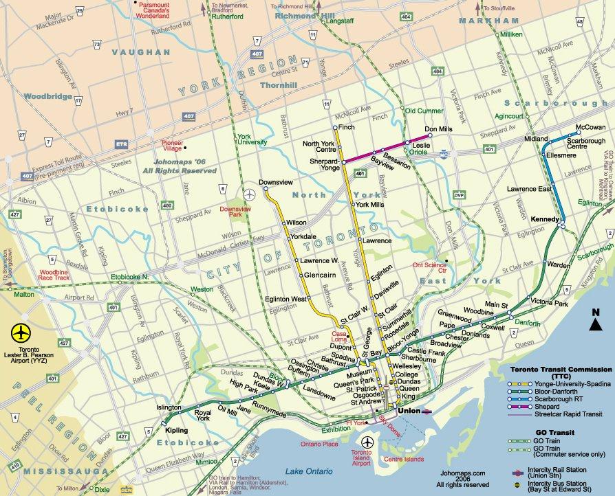 карта метро Торонто