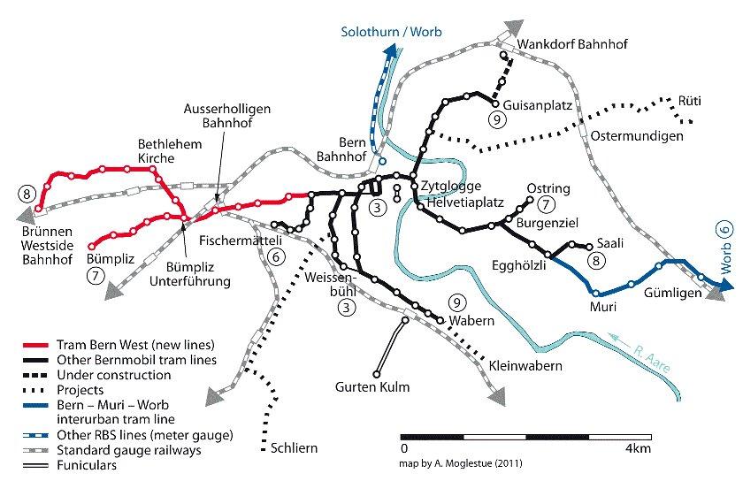 карта трамвайных линих города