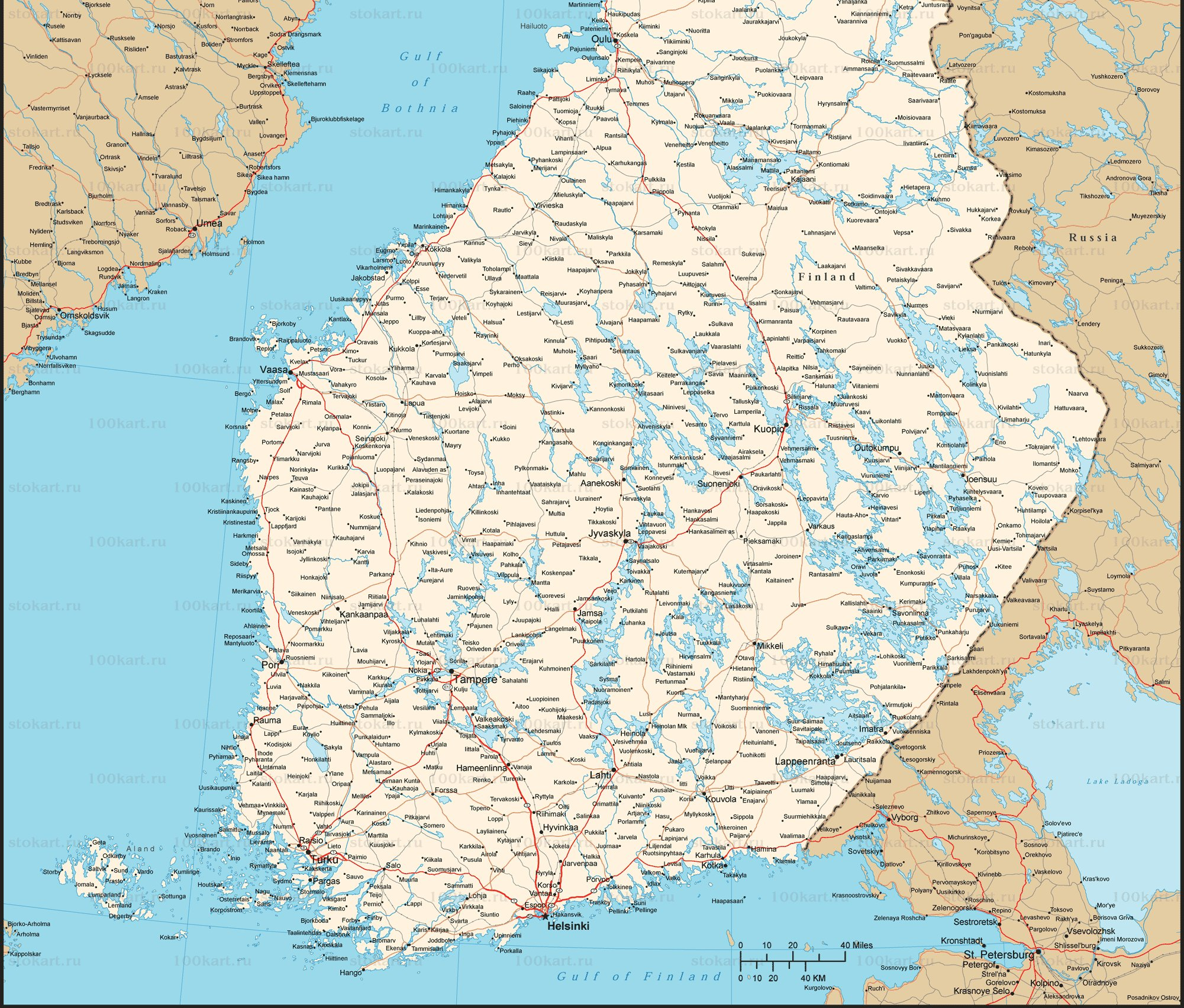 Финляндия карта на русском языке, подробные карты Финляндии с ...