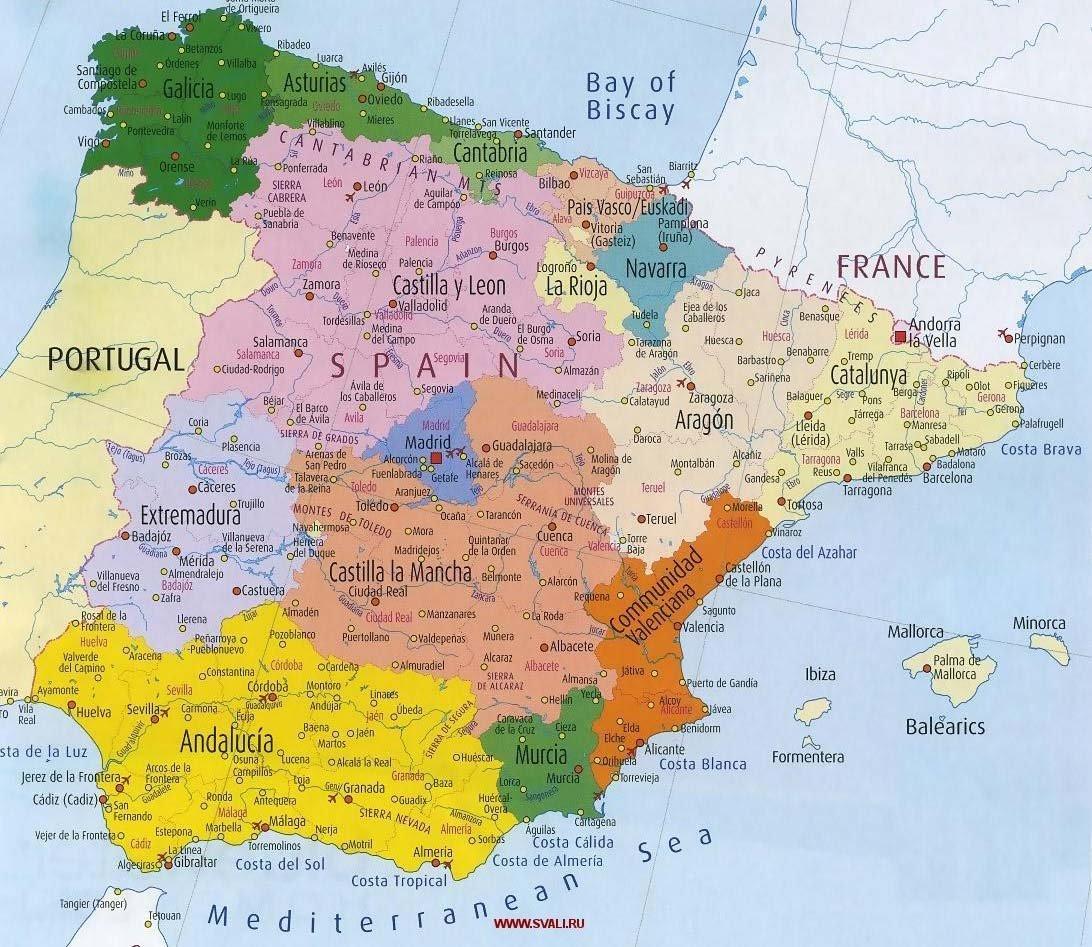 Карта испании с городами карта