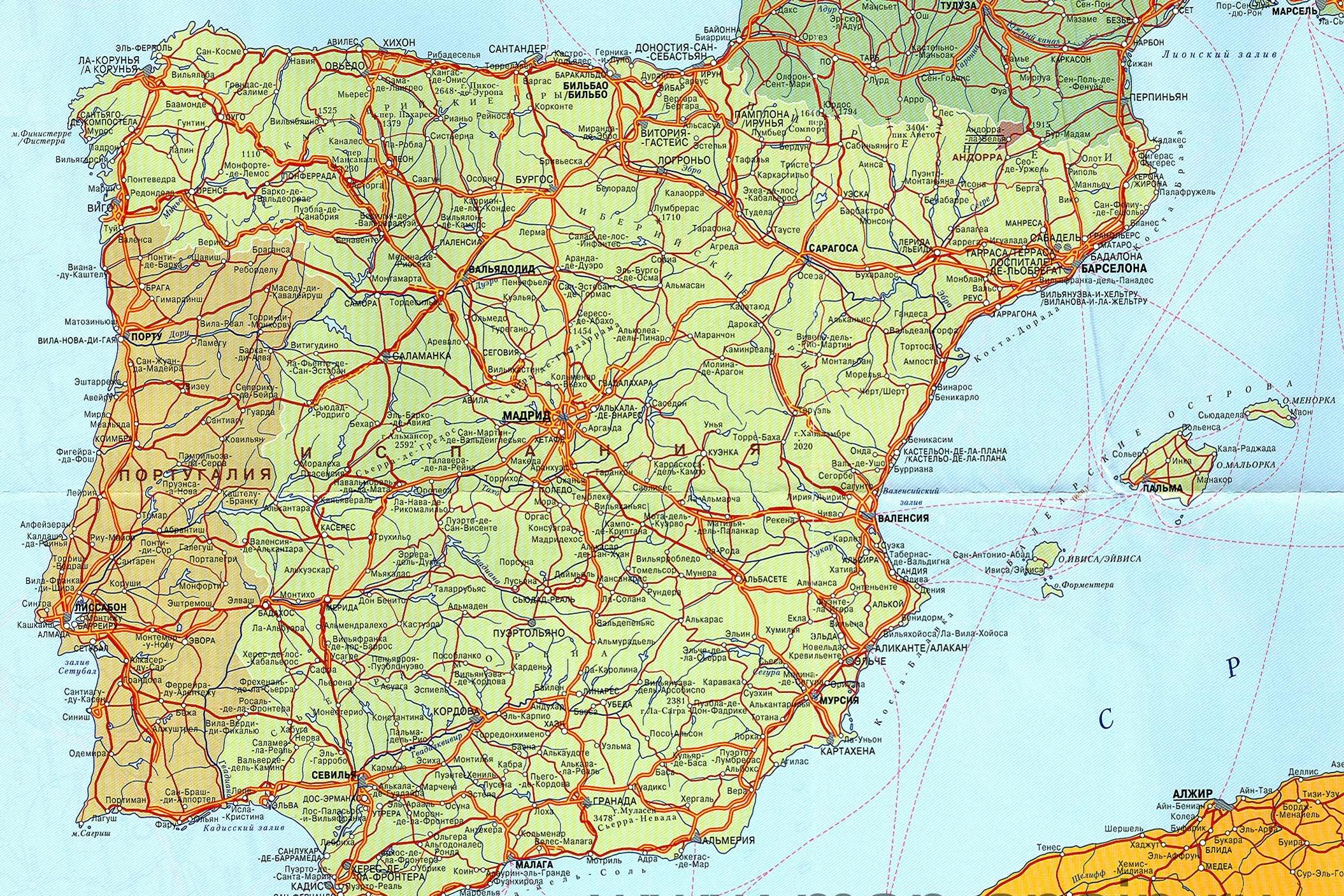 ...карту Испании и всю подробную информацию об отелях и с Португалией.