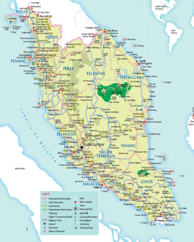 Подробная карта малайзии