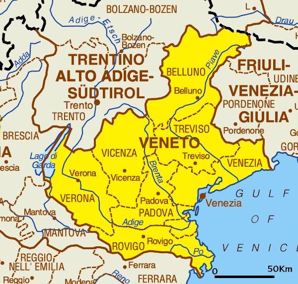 Карта региона Венето