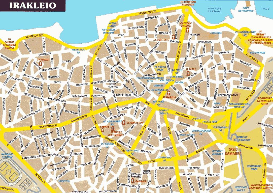 Карты Ираклиона Греция Подробная карта Ираклиона на
