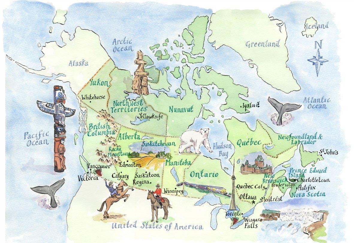 Карта курорта канада карта канады