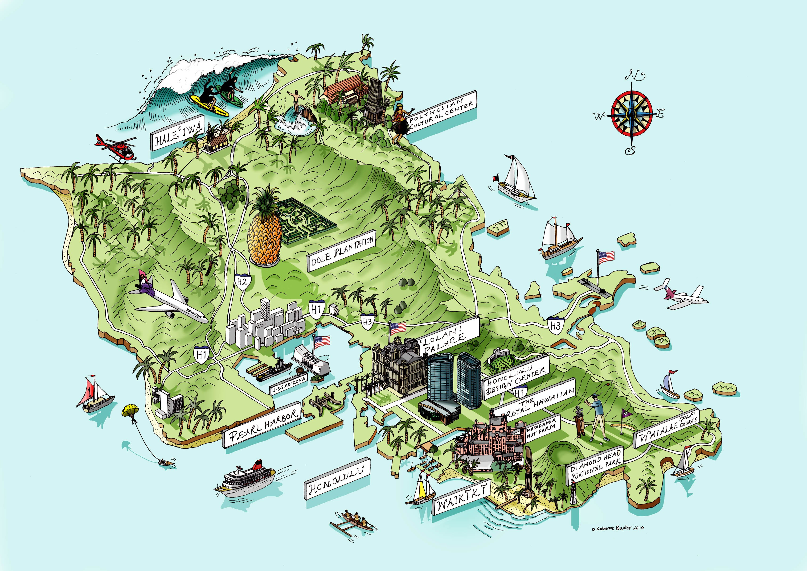 Схемы карта гавайских островов карта
