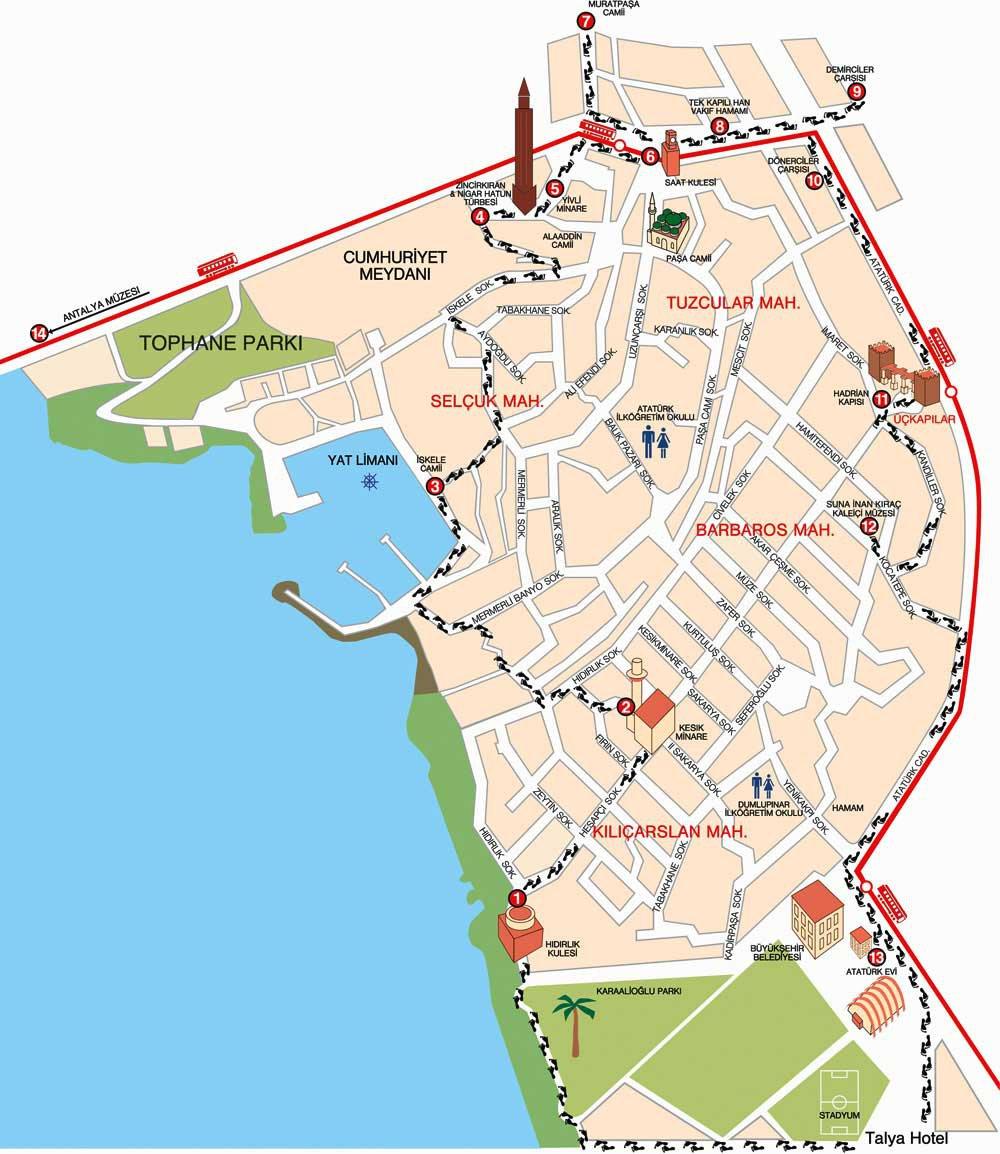 Туристическая карта антальи карта