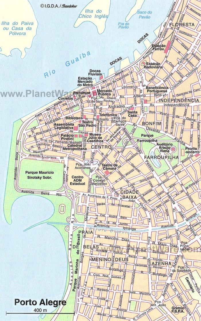 Карта центра Порту Алегри
