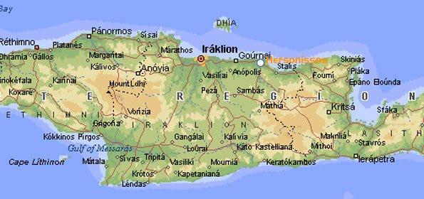 Херсониссос на карте Крита
