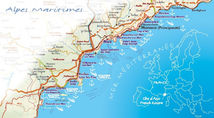 на карте Лазурного берега