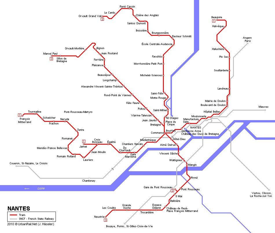 Карта трамвайных маршрутов