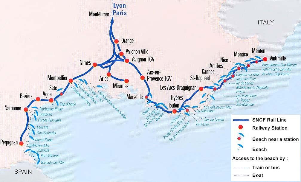 Схема маршрута TGV в Провансе