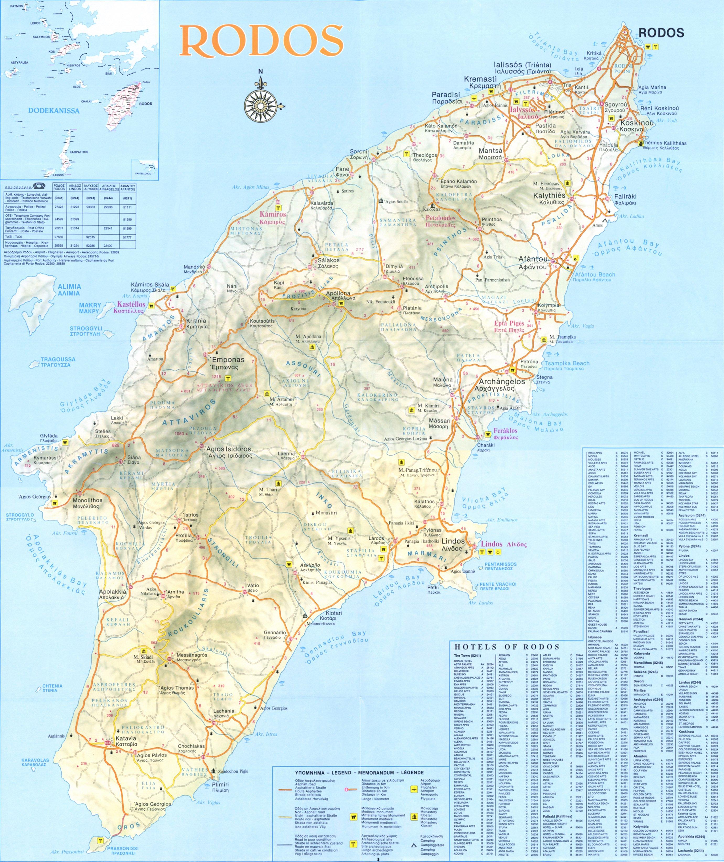 Карта острова родос карта острова