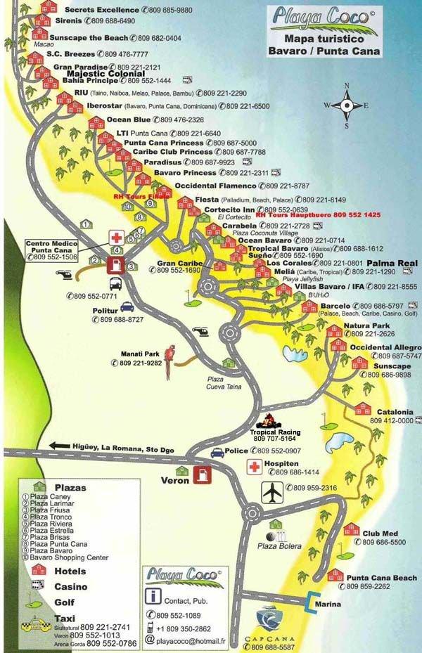 карта курорта Пунта Кана