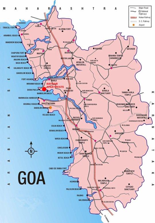 карта курорта Гоа