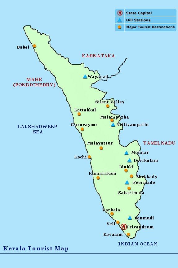 карта курорта Керала