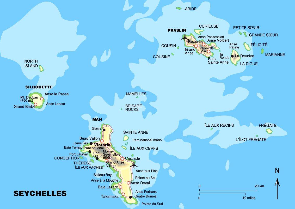 Карта сейшельских островов