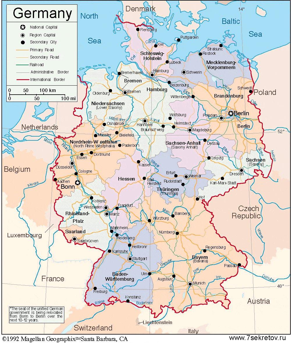 Подробная карта Германии на русском языке с городами
