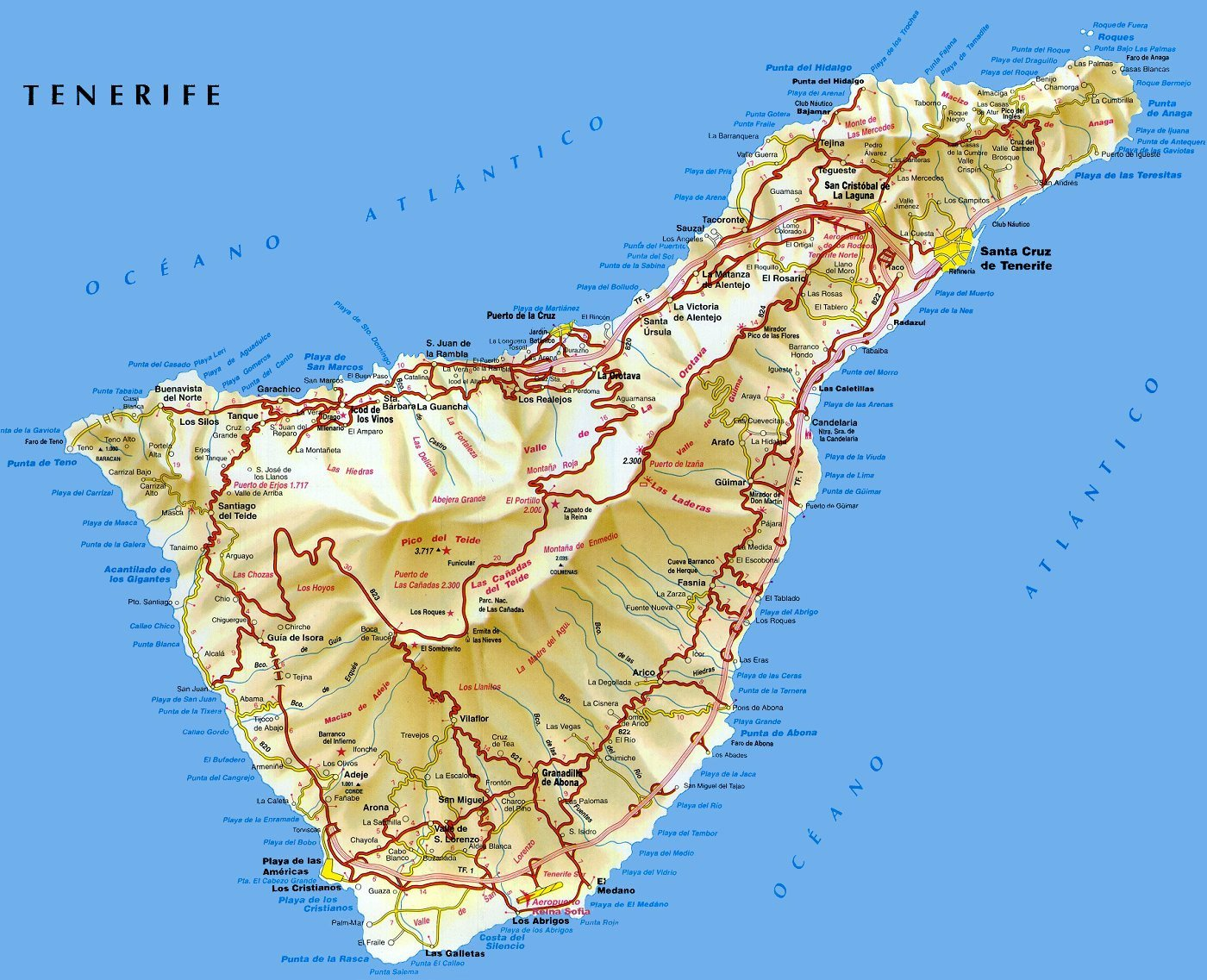 Карта острова тенерифе с городами