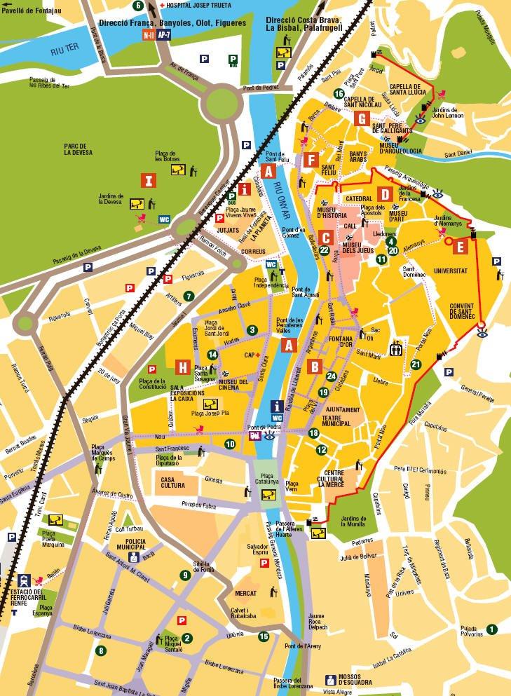 карта курорта Жирона