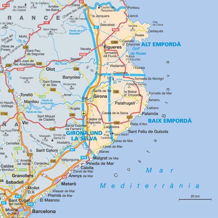 карта курорта Коста Брава с