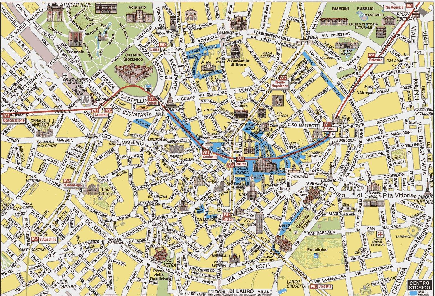 достопримечательности, кафе, просмотр улиц и многое другое.  Если Вы нашли интересные схемы или карты Милана...