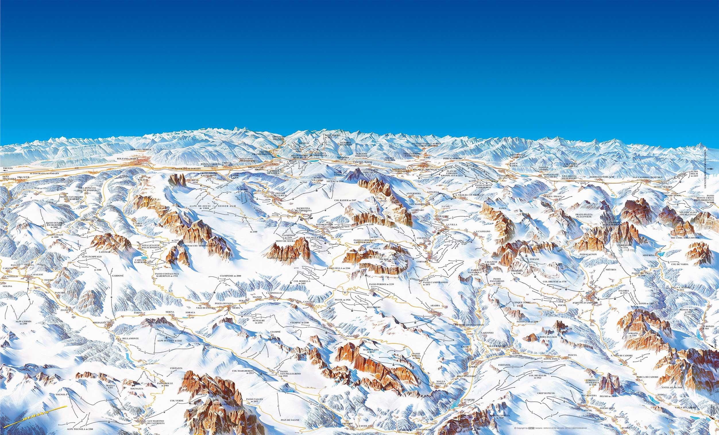 Карта курорта доломитовые альпы карта