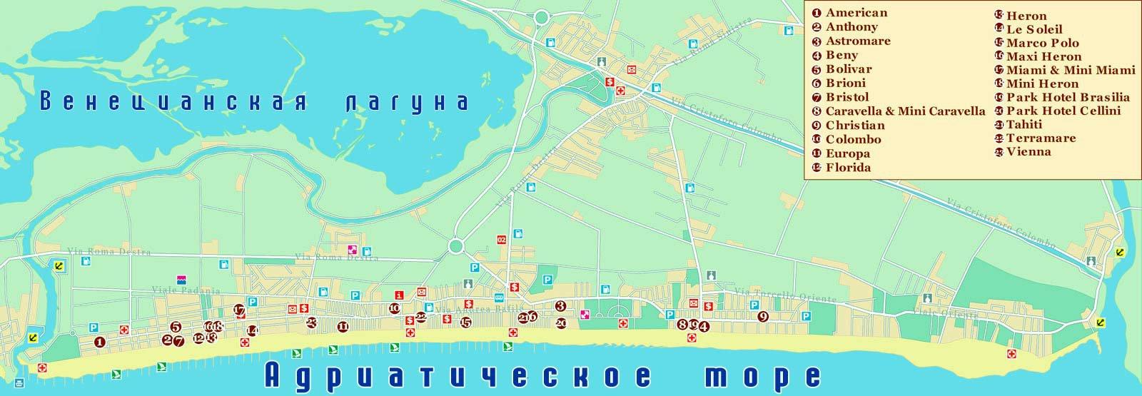 Карта курорта лидо ди езоло