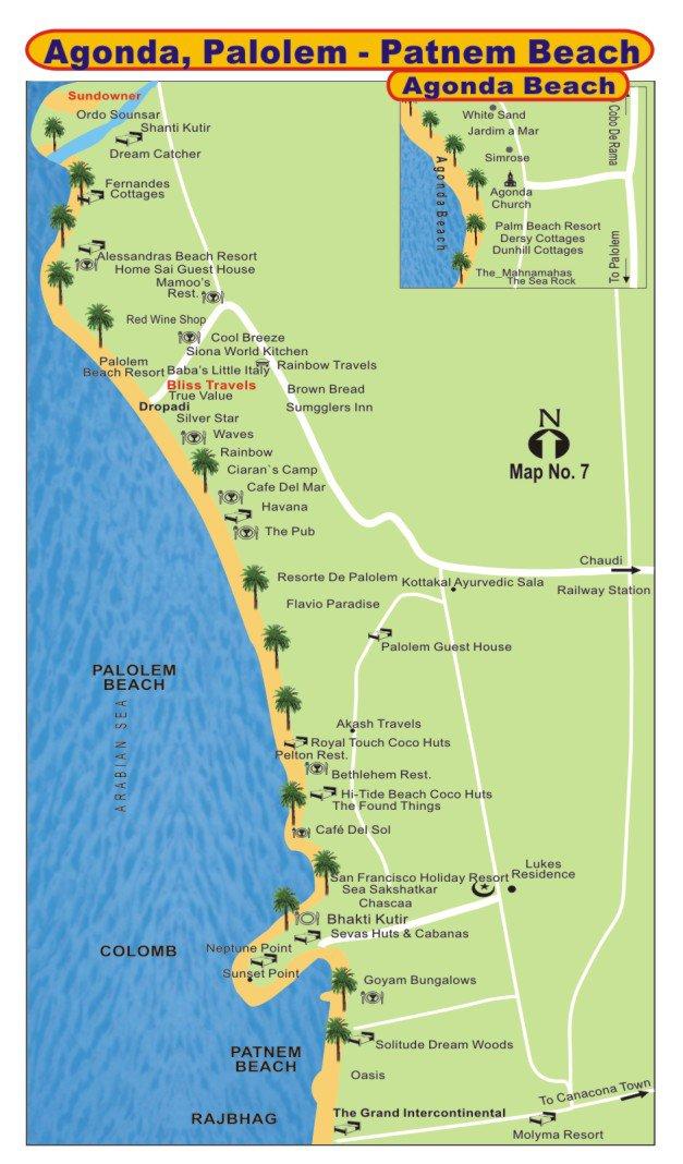 Карта пляжа Palolem