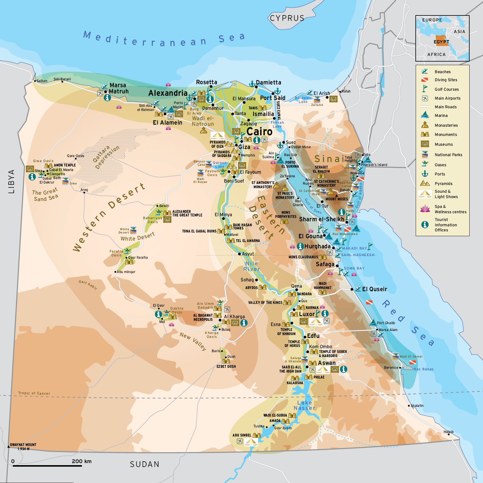 Туристическая карта египта карта