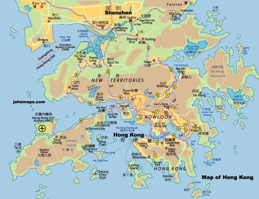 карта курорта Гонконг
