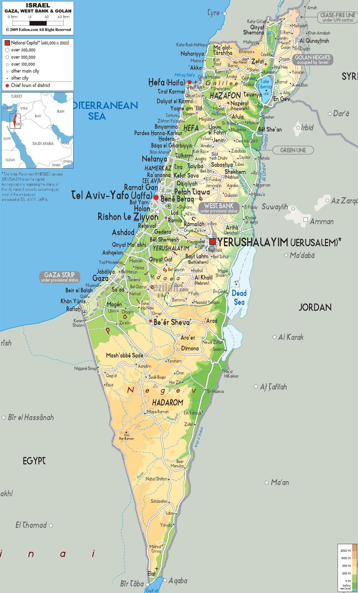 Карта израиля карта дорог израиля
