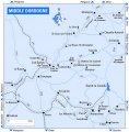 Карта-схема среднего течения реки Дордонь (Аквитания, Франция) .