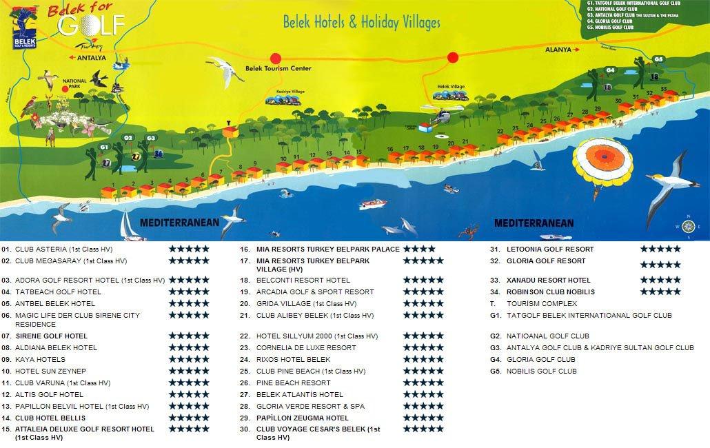Карта отелей турции на русском
